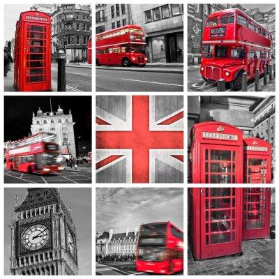 Posters Londres Collage de photos, couleur sélective