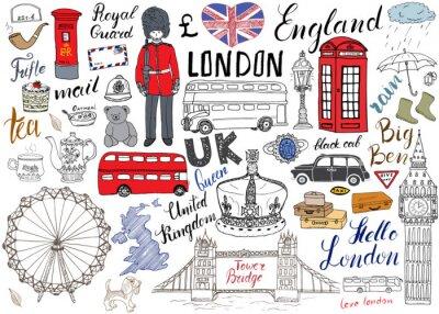 Posters Londres, ville, doodles, éléments, collection. Main, tiré, ensemble, tour, pont, couronne, grand, ben, royal, garde, rouge, bus, noir, cabine, Royaume-Uni, carte, drapeau, thé, pot