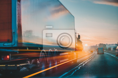 Posters Lorry Cargo Transport Delivery in motion, United Kingdom M1 Motorway