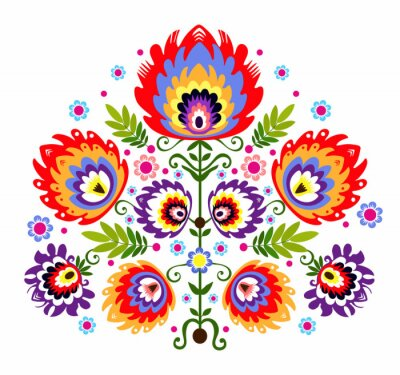 Posters Ludowy wzór - kwiaty