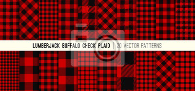 Posters Lumberjack Red and Black Buffalo Check Plaid Vector Patterns. Rustic Christmas Backgrounds. Pack of 20 Hipster Flannel Shirt Fabric Textures of Different Styles. Repeating Pattern Tile Swatches Incl
