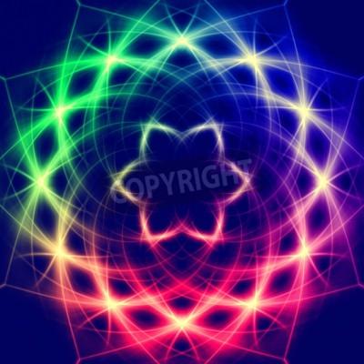 Posters Lumières formant abstrait mystique fleur colorée rétro