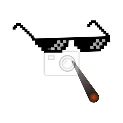 Lunettes pixel vector icon pixel art lunettes de thug life meme . d631105019d3