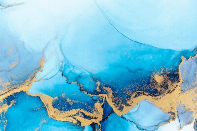Posters Luxury blue abstract background of marble liquid ink art painting on paper . Image of original artwork watercolor alcohol ink paint on high quality paper texture .