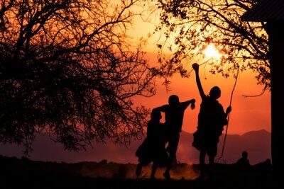 Posters Maasai enfants Silhouette
