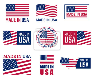 Posters made in the usa labels set, emblème du produit américain