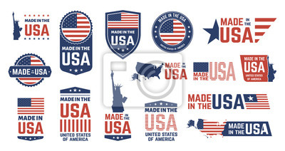 Posters Made in USA badges. Patriot proud label stamp, American flag and national symbols, United States of America patriotic emblems vector set. US product stickers, national independence day 4th july badges