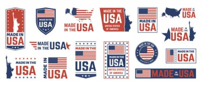Posters Made in USA label. American flag emblem, patriot proud nation labels icon and united states label stamps vector isolated symbols set. US product stickers, national independence day 4th july badges