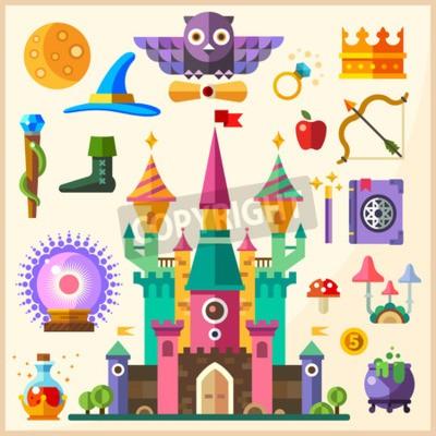 Posters Magie et conte de fées. Château magique. Vecteur plat icône et illustrations: château hibou bague couronne personnel chapeau livre de sorts magie baguette magique boule bouleuse potion champignons arc