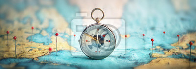 Posters Magnetic compass  and location marking with a pin on routes on world map. Adventure, discovery, navigation, communication, logistics, geography, transport and travel theme concept background..