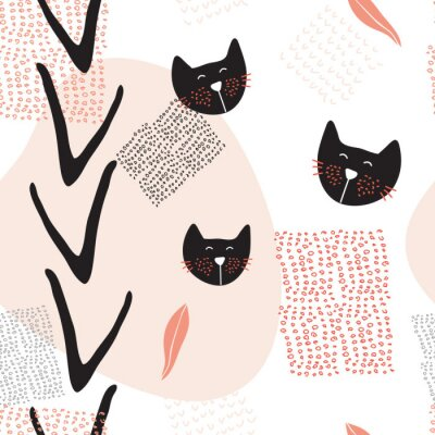 Posters Main, dessiné, résumé, seamless, fond, modèle, mignon, chats