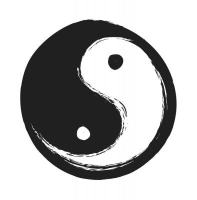 Posters Main, dessiné, ying, yang, Symbole, harmonie, équilibre, conception, élément