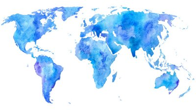 Posters main mondiale map.Earth.Watercolor tiré fond illustration.White.