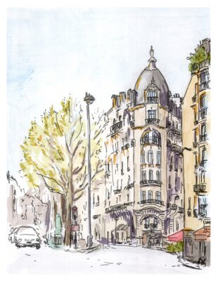 Posters Main peint couleur croquis de rue de Paris