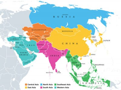 Posters Main regions of Asia. Political map with single countries. Colored subregions of the Asian continent. Central, East, North, South, Southeast and Western Asia. English labeled. Illustration. Vector.