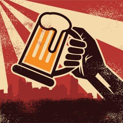 Posters Main, tenue, bière, faire, toast, affiche