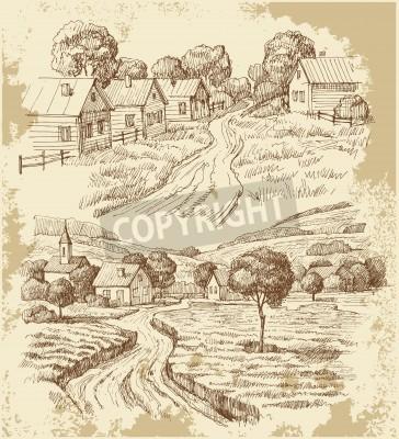 Posters Maisons de village dessinent avec de la nourriture