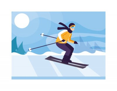 man with mountain ski in landscape with snowfall