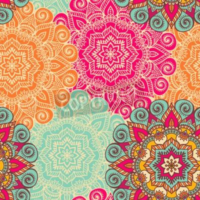 Posters Mandala de vecteur. Ornement rond dans le style ethnique. Dessin à la main