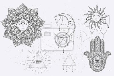 Mandala Set Et Dautres Elements Vecteur Tatouage Mandala Affiches