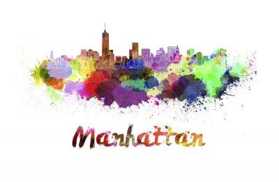 Posters Manhattan, Horizon, aquarelle