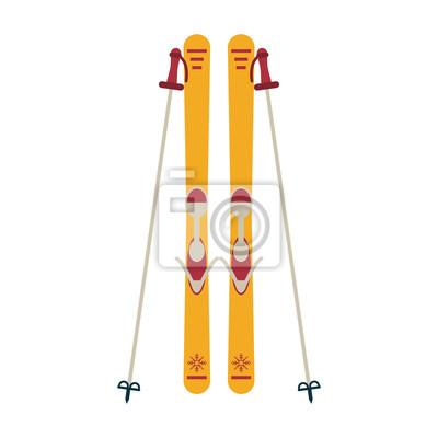 Matériel de planche et de bâtons de ski