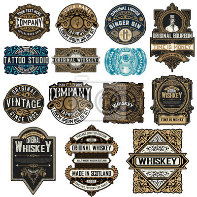 Posters Mega pack of 14 labels and banners. Vector layered