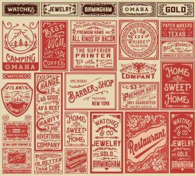 Posters Mega pack rétro dessins publicitaires et labels - Vector illust