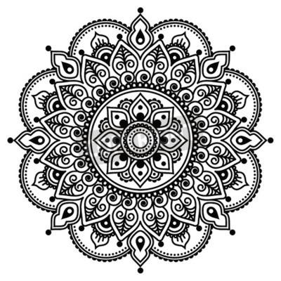 Posters Mehndi, henné indien motif de tatouage ou de fond
