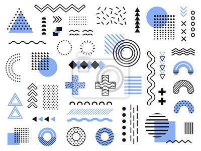 Posters Memphis design elements. Graphique funky rétro, dessins de tendances des années 90 et collection de vecteur élément illustration impression géométrique vintage