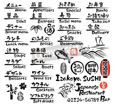 Posters Menu Cuisine japonaise, en anglais et en japonais