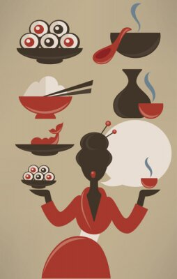 Posters Menu japonais, la collecte alimentaire de vecteur dans le style plat