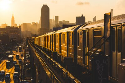 Posters Métro à New York au coucher du soleil