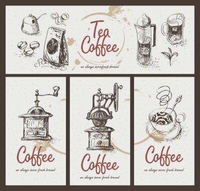 Posters mettre dessin ustensiles pour boire du thé et du café