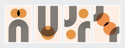 Posters Mid century abstract contemporary aesthetic design  set with geometric balance shapes, modern minimalist artprint.