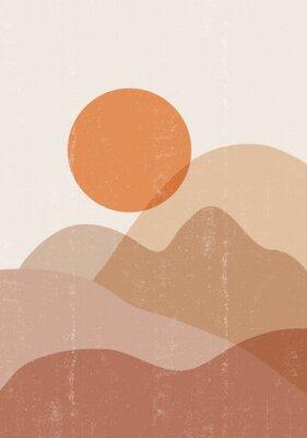Posters Mid century sunset print boho minimalist printable wall art
