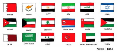 Posters Middle East Countries national Flags Hand Drawn. Sketch style Vector doodle illustration