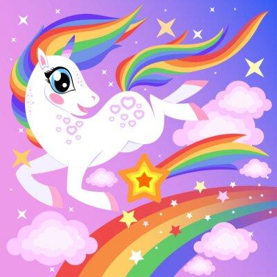 Mignon Dessin Animé Licorne Arc En Ciel Avec Des étoiles Affiches