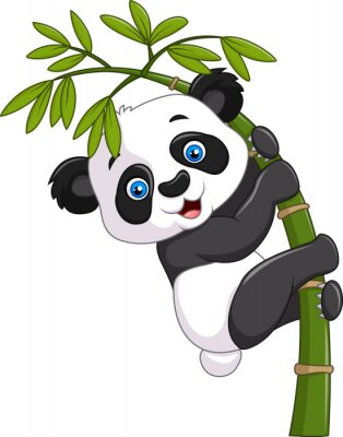 Posters Mignon, rigolote, bébé, panda, pendre, bambou, arbre