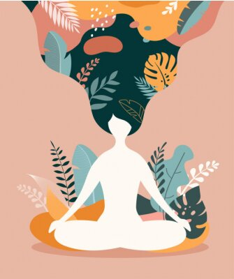 Posters Mindfulness, meditation and yoga background in pastel vintage colors - women sitting with crossed legs and meditating.