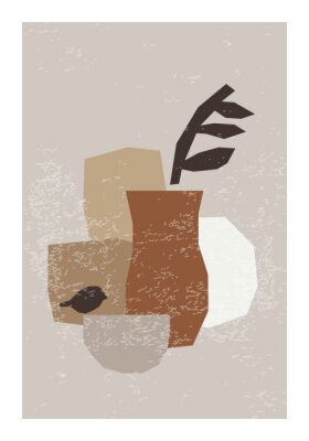Posters Minimal wall art poster with abstract organic shapes composition in trendy contemporary collage style
