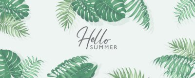 Posters Minimalist summer banner design with tropical leaves theme