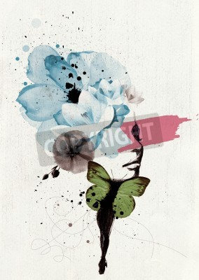 Posters Mixed media illustration of a woman portrait with butterfly wings and floral decoration