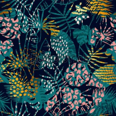Posters Mode modèle exotique sans soudure avec des plantes tropicales et des imprimés animaliers. Illustration vectorielle Design abstrait moderne pour papier, papier peint, couverture, tissu, décoration inté