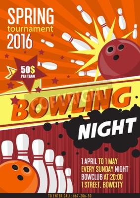 Posters Modèle d'affiche de tournoi de bowling. Conception avec boule de bowling et épingles. Style plat. Vector Ilustration.