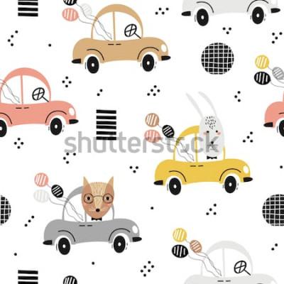 Posters Modèle de bébé sans couture avec le renard mignon, lapin dans la voiture. Texture créative pour enfants pour le tissu, le textile, le papier peint et l'emballage. Illustration vectorielle
