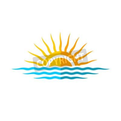 Posters Modèle de logo de voyage. Soleil avec vagues de mer.