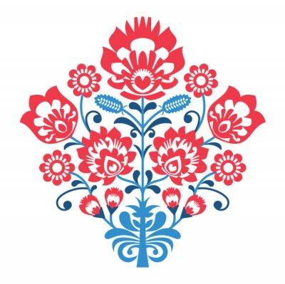 Posters Modèle polonais folklorique de l'art avec des fleurs - lowickie Wzory, wycinanka