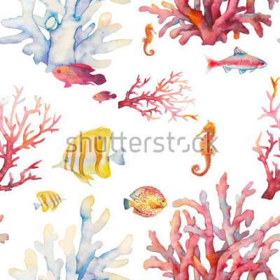 Posters Modèle sans couture aquarelle de récif de corail. Design de fond réaliste dessinés à la main: poissons tropicaux, coraux, cheval de mer sur fond blanc. Conception de texture répétitive naturelle pour