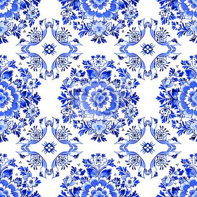 Modele Sans Couture Aquarelle De Style Bleu Delft Motif De